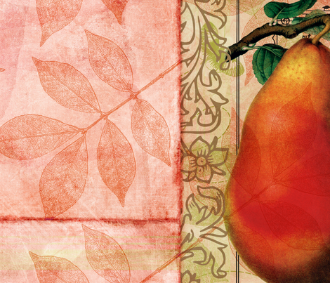 Peach Pear and Leaves Vintage fabric by peacefuldreams on Spoonflower - custom fabric