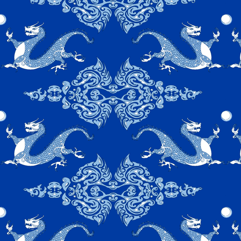 Year of the Dragon Royal Blue fabric by ridley_designs on Spoonflower - custom fabric