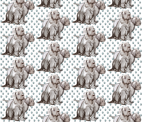 neopolitan puppies with pawprints fabric by dogdaze_ on Spoonflower - custom fabric