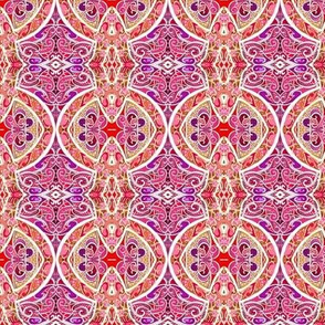 Seeing Red (an ornate geometric with fine scale lines)