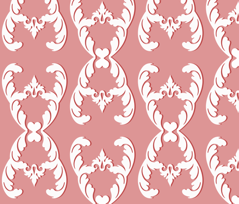 filigree_coral fabric by honey&fitz on Spoonflower - custom fabric