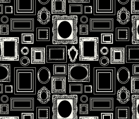 salon wall, black / white fabric by circlealine on Spoonflower - custom fabric