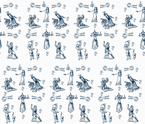 Cluedo toile blue fabric by lahib on Spoonflower - custom fabric