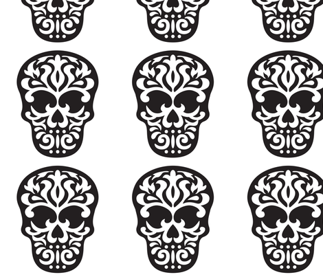 Skull Damask  fabric by mariafaithgarcia on Spoonflower - custom fabric