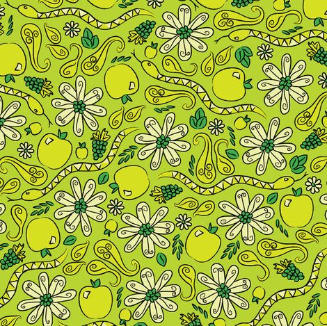 A Snake in the Garden fabric by robyriker on Spoonflower - custom fabric