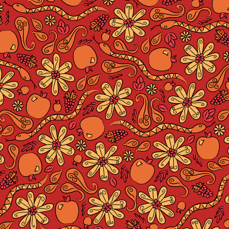 A Snake in the Garden (Red) fabric by robyriker on Spoonflower - custom fabric
