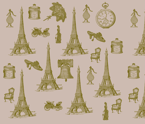 Vintage Paris fabric by peacefuldreams on Spoonflower - custom fabric