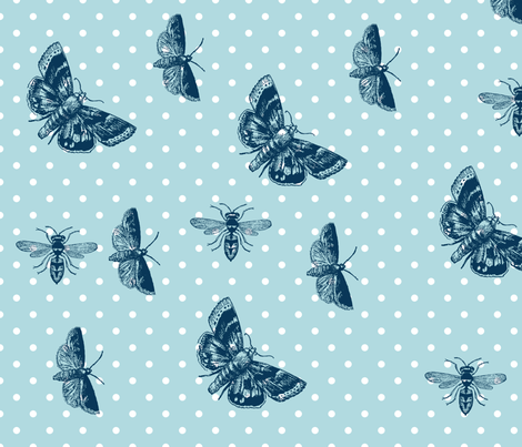 Polka Dots Butterflies and Bees fabric by pencreations on Spoonflower - custom fabric