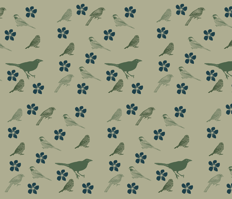 Birds and Flowers fabric by peacefuldreams on Spoonflower - custom fabric
