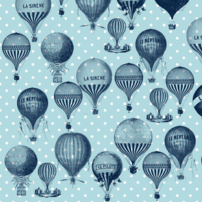 Blue Vintage Hot Air Balloons
