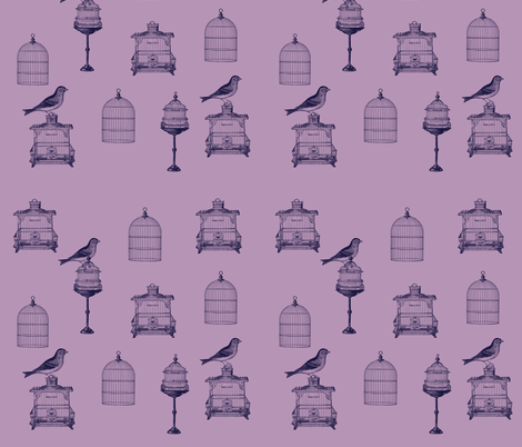 Purple Birds and Bird Cages fabric by pencreations on Spoonflower - custom fabric