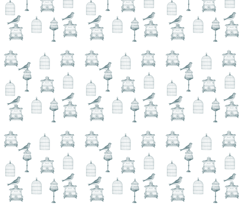 Blue Birds and Bird Cages fabric by peacefuldreams on Spoonflower - custom fabric