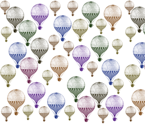 Colorful Hot Air Balloons fabric by peacefuldreams on Spoonflower - custom fabric