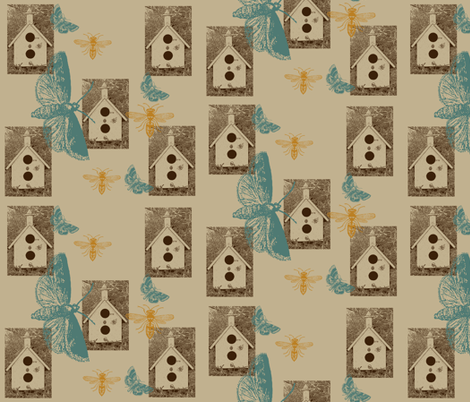 Bird Houses with Butterflies and Bees fabric by peacefuldreams on Spoonflower - custom fabric