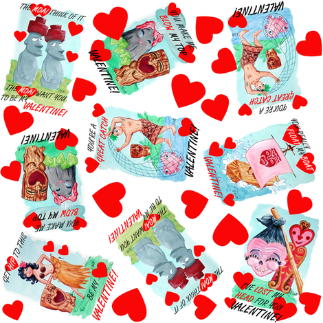 Will You Be My Tiki Valentine? fabric by eric_october on Spoonflower - custom fabric