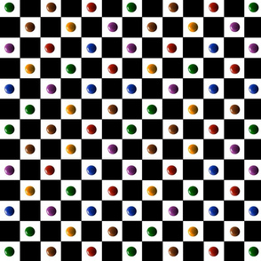 Checkerboard with bright paint drops