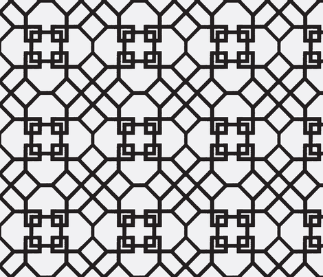 Lattice- Black/White-Large fabric by melberry on Spoonflower - custom fabric