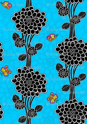 Flowered tree in blue.