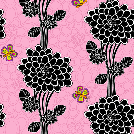 Flowered tree in pink. fabric by juliagrifol on Spoonflower - custom fabric
