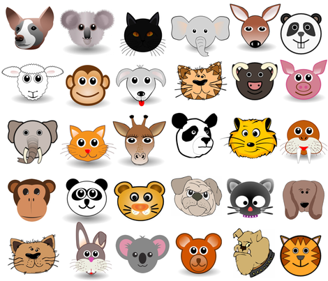 FURRY FACES fabric by bluevelvet on Spoonflower - custom fabric