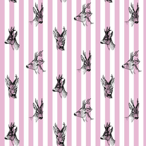 Vintage Deer Fabric Lavender Stripes