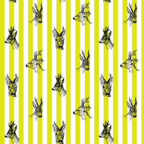 Vintage Deer Fabric Green Stripes