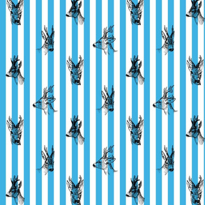 Vintage Deer Fabric Blue Stripes
