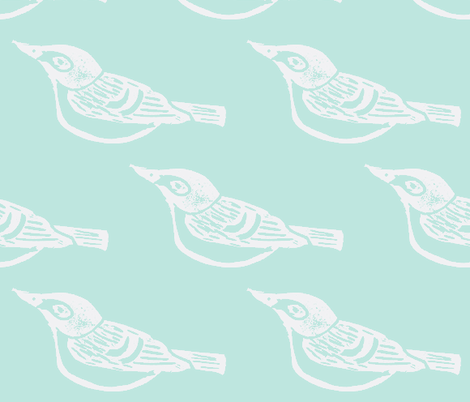 Black Capped Vireo Large - Bluebird-(White version) fabric by owlandchickadee on Spoonflower - custom fabric