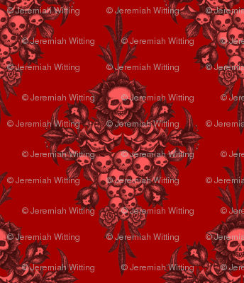skullflower Damask - blood