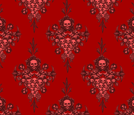 skullflower Damask - blood fabric by jwitting on Spoonflower - custom fabric