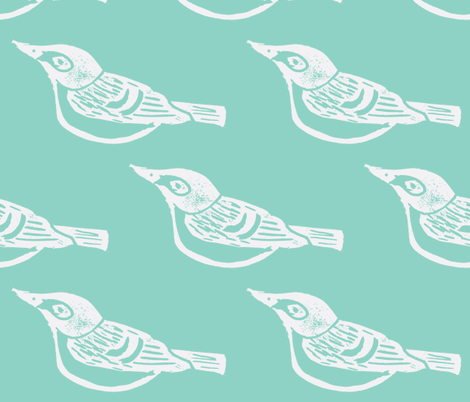 Black Capped Vireo Large - Bluebird-(White version - Med. Turquoise) fabric by owlandchickadee on Spoonflower - custom fabric