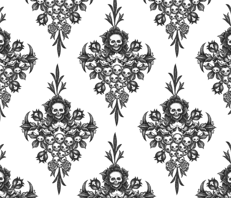 skullflower Damask - white fabric by thecalvarium on Spoonflower - custom fabric