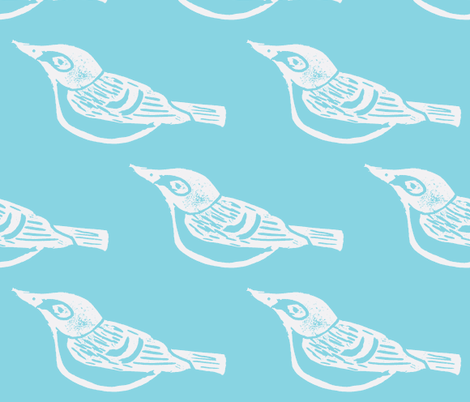 Black Capped Vireo Large - (White -Sky) fabric by owlandchickadee on Spoonflower - custom fabric