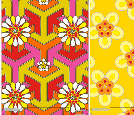 Three Lumbar Pillows - Orange/Yellow
