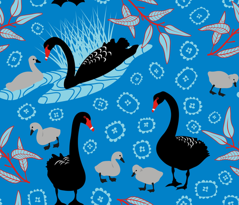 Black Swan Toile fabric by yellowstudio on Spoonflower - custom fabric
