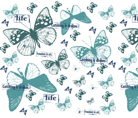 Dreaming Butterflies fabric by peacefuldreams on Spoonflower - custom fabric