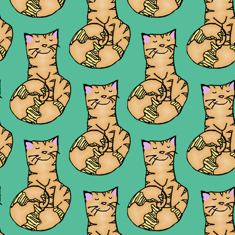 Swirl Kitty fabric by pond_ripple on Spoonflower - custom fabric