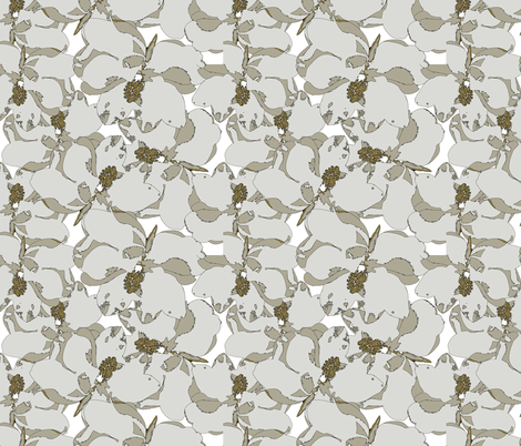 Southern-Magnolia-flower fabric by cutiecat on Spoonflower - custom fabric