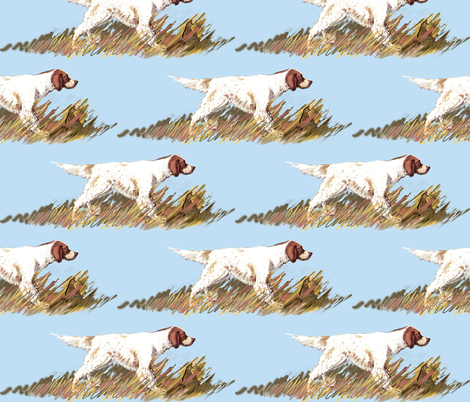 Setter Wiith Bird Fabric fabric by dogdaze_ on Spoonflower - custom fabric