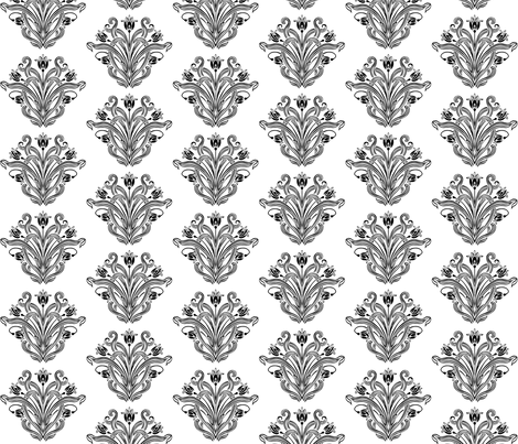 Beau Hearts b&w fabric by flyingfish on Spoonflower - custom fabric