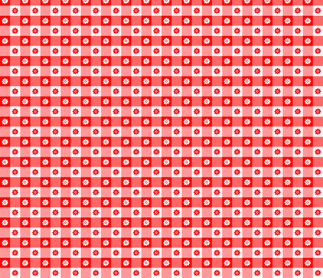 Fleurs Vichy rouge