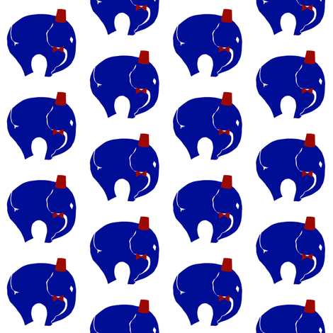 , BowTie with Fez on   Blue elephant. fabric by starrloy on Spoonflower - custom fabric