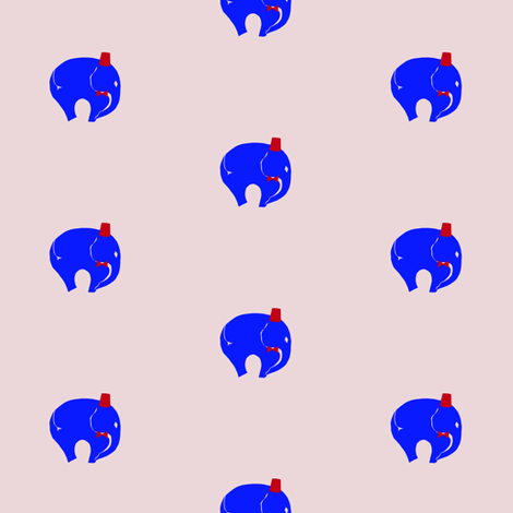 11,BowTie with Fez, Blue StarrElephant on Pink fabric by starrloy on Spoonflower - custom fabric