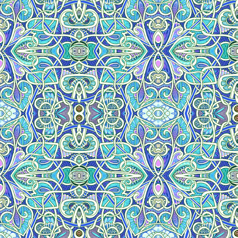 Tangled Hearts and Spades of blue and purple fabric by edsel2084 on Spoonflower - custom fabric