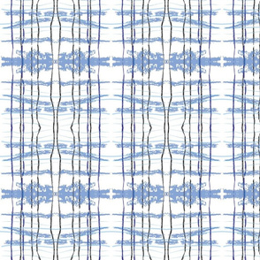 hidden blue fox ikat plaid