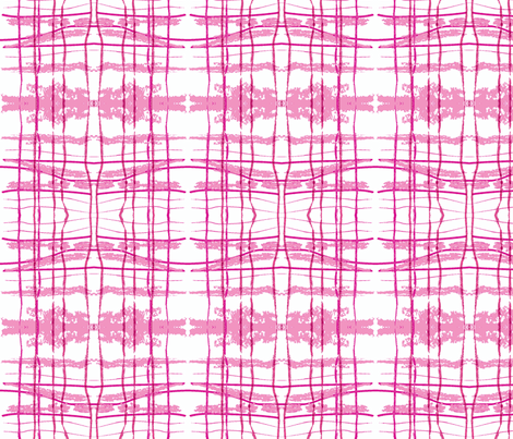 hidden pink fox ikat plaid fabric by laurl on Spoonflower - custom fabric
