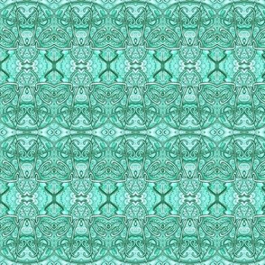 Aqua Art Nouveau Scallops (horizontal stripe)