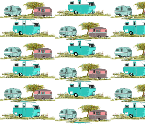 Lets Go Camping Retro Travel Trailers fabric by salzanos on Spoonflower - custom fabric