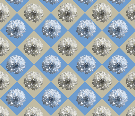 blue taupe diamond daisy fabric by laurl on Spoonflower - custom fabric
