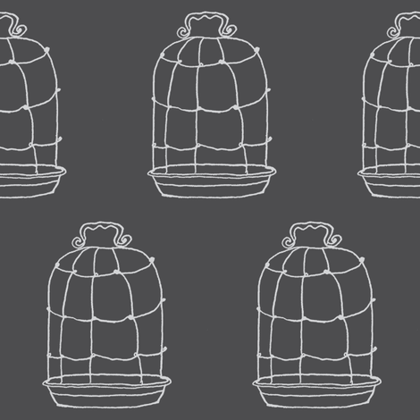 birdcage charcoal fabric by gollybard on Spoonflower - custom fabric